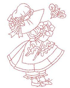 Redwork Embroidery Redwork Monthly Sunbonnet Sue - May Learn Embroidery, Hand Embroidery Patterns, Vintage Embroidery, Embroidery Applique, Embroidery Stitches, Machine Embroidery, Embroidery Designs, Craft Patterns, Quilt Patterns