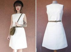 1960's White Wool Dress  Mod Girl Size S by bazvintage on Etsy