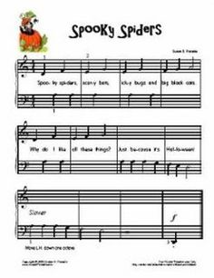 Welcome to Susan Paradis Piano Teaching Resources - Susan Paradis Piano Teaching Resources Piano Music For Kids, Piano Sheet Music, Music Sheets, Piano Lessons, Music Lessons, Halloween Songs, Fun Songs, Piano Teaching, Elementary Music