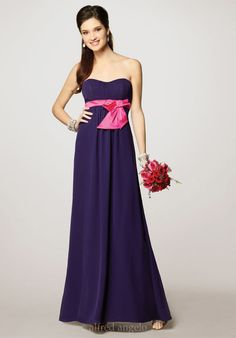Online Sale Grape Sweetheart Neckline Chiffon Satin Sash Empire Bridesmaid Dresses