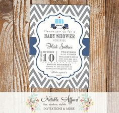 Gray and Light Navy Police Car Baby Shower invitation - choose your colors as desired by NotableAffairs