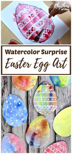 There are two watercolor techniques that can be used to create watercolor surprise Easter Egg art for kids using our FREE Easter Egg printable template. Invite children to paint Easter Egg art using a watercolor resist medium or the wet-on-wet watercolor