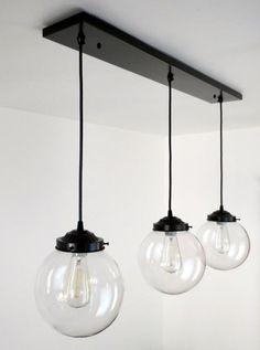 Biddeford. Modern LIGHT Trio of Large Globe Pendants with Edison Bulbs - Mason Jar Light Fixture - The Lamp Goods - 3