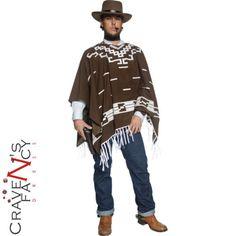 Wild-West-Gunman-Costume-Mens-Cowboy-Clint-Eastwood-Fancy-Dress-Poncho-Outfit