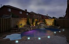 Solar LED Paver Lights around pool deck add safety and increase nighttime enjoyment. #outdoorlighting