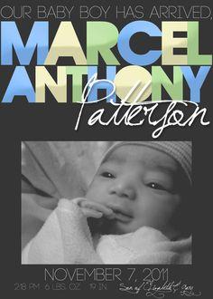 New Born Baby Boy or Girl Announcement Card by xxLVE, $14.00 VISIT: http://www.etsy.com/shop/xxLVE
