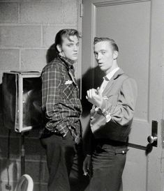 (via theniftyfifties)  Elvis Presley With His cousin Gene Smith backstage at the University of Dayton, May 27, 1956. Photo by Phillip Harringt ...