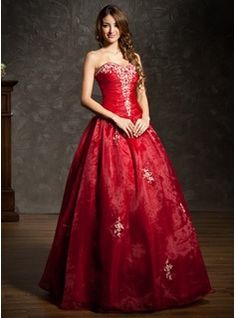 Ball-Gown Sweetheart Floor-Length Organza Quinceanera Dress With Embroidered Ruffle Beading (021004600)