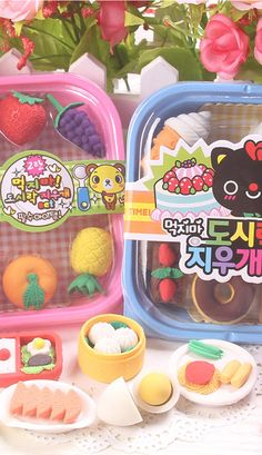Kawaii Iwako food eraser set in bento box
