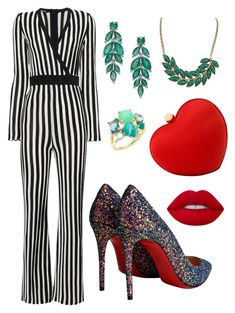 """""""Untitled #12"""" by andela-balazova on Polyvore featuring Balmain, Christian Louboutin, Santi, Lime Crime, WithChic, Ippolita and jumpsuits"""