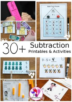 30+ Subtraction Printables & Activities | 3 Dinosaurs Math Activities For Kids, Number Activities, Thanksgiving Math, Daily Math, Halloween Math, Math Numbers, Math Facts, Printable Coloring Pages, Teaching Math