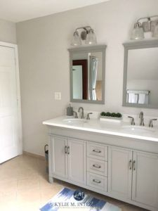 Benjamin Moore Balboa Mist In Bathroom With Beige Tile And Gray And White Vanity Kylie M Inter Beige Tile Beige Tile Bathroom Benjamin Moore Paint Colors Gray
