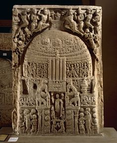 Drum-slab, Amaravati Stupa, Guntur District of Andhra Pradesh. Buddhist stupa was built during the reign of Ashoka in 200 BCE, was carved with panels that tells the story of Buddha.