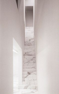 Exquisite staircase of carrara marble inside the DJ-JVD house by Belgian architect Vincent van Duysen.