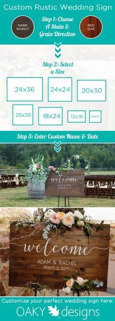 3 Easy steps and your new custom rustic wedding sign can be delivered to your door before that special day!