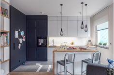 Biało czarna kuchnia, ciekawa kuchnia, piękna kuchnia, meble kuchenne, aranżacja kuchni. Zobacz więcej na: https://www.homify.pl/katalogi-inspiracji/17772/homify-360-gdanskie-mieszkanie-w-stylu-graffiti