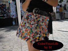 Magazine clipping skirt Candy wrapper skirt Eco handmade skirt recycled materials skirt, origami, paper skirt mini skirt by ColorYourLifebyM on Etsy