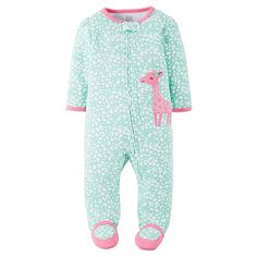 Just One YouMade by Carter's Baby Girls' Giraffe Sleep N' Play - Mint/Pink 9 M, Infant Girl's, Mint Jelly