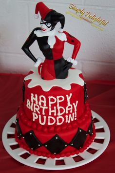 Harley Quinn Cake! https://www.facebook.com/simplydcakes/photos/a.717689105015111.1073741834.685640224886666/787429688041052/?type=1&theater