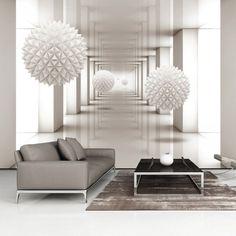 papier peint design couloir blanc (GiFi-805047X)