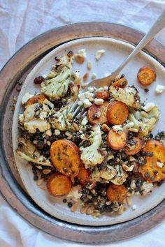 Roasted Carrot, Cauliflower & Black Lentil Salad (serve with labneh) Veggie Recipes, Whole Food Recipes, Vegetarian Recipes, Cooking Recipes, Healthy Recipes, Lentil Salad Recipes, Dinner Recipes, Clean Eating, Healthy Eating