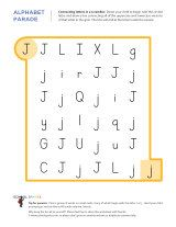 Kindergarten worksheets - Connecting letters in a scramble - J