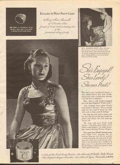 Vintage 1944 Pond's Cold Cream Mary Alice Maxwell of Columbus Ohio WAR BONDS #Ponds