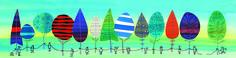 Rij gekleurde bomen met vastgebonden mensen, waarvan er een zich losmaakt, 2014. Pen, inkt, ecoline, collage.