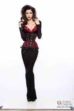 Vampy Long Line Corset by CastleCorsetry on Etsy