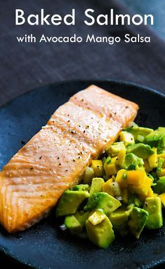 , oven-baked salmon fillets with avocado, mango, chile, lime salsa ...