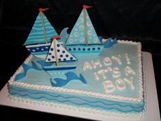 Nautical Sheet Cake | ... cake! 11x15 sheet cake with buttercream and gumpaste sailboats and