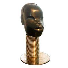 Art Deco Hagenauer Workshop Ebonised Carved Wood African Head
