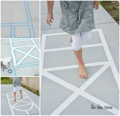 """Make your own hopscotch court & town """"roads"""" with Scothblue tape or masking tape. Looks like fun via Amy Huntley (The Idea Room) #kids activities"""