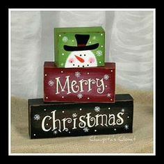 Primitive Country SNOWMAN Blocks Merry Christmas Shelf Sitter Winter Home Decor #AHD