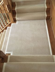 Cream Wool Carpet fitted as bespoke stair runner to oak staircase with cream taping in Wentworth Berkshire Rustic Staircase, Narrow Staircase, Oak Stairs, Staircase Design, House Staircase, Staircase Remodel, Staircase Ideas, Stair Rug Runner