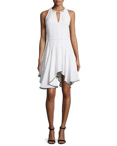 Sleeveless Contrast Flounce-Hem Dress, Chalk/Black