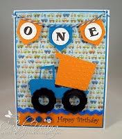 Handmade big truck birthday card created by Sandy and displayed on the Scrap-Creations blog. Great card for a little boy.