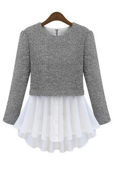 "Layer a cropped refashioned sweater over a full bottom shirt or make a ""skirt"" for a sweater and sew together"