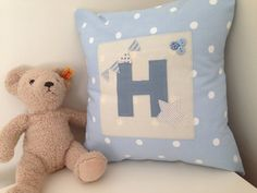 Personalised Initial Applique Cushion by CocoBlueDesign on Etsy Applique Cushions, Patchwork Cushion, Handmade Cushions, Blue Design, Initials, My Etsy Shop, Throw Pillows, Pillow Talk, Unique Jewelry