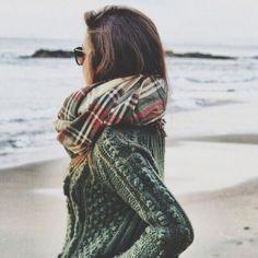 plaid scarf, chunky sweater