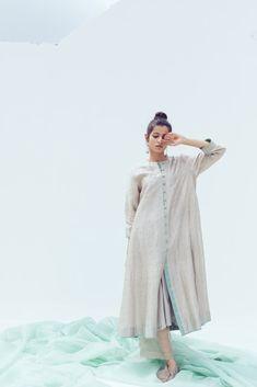 Ash sitara shirt Ash sitara shirt - 'perfume' by Khyati Pande Perfume Names, Vanilla Perfume, Chloe Perfume, Cotton Slip, Indian Textiles, Ash Grey, Box Pleats, Festival Wear, Designer Dresses