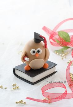 Gufo Laurea Cake Topper Fatto a Mano in Pasta di Mais Ideale per Laurea-Animale-Diploma-Cappello-Libro-Personalizzabile-Pasta Polimerica di MaisEPoiMais su Etsy