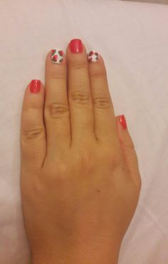 Watermellon white red nail art