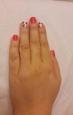 Watermellon white red nail art
