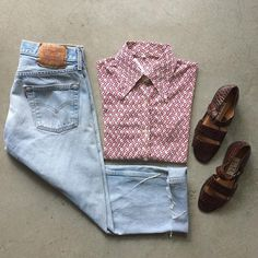 """USA Cropped Levi's $55+$8(shipping) Size 30 & VTG Patterned Long Sleeve Blouse $18 +$8(shipping) Size Small (25""""x17"""") & 90s Nine West Sandals $28 +$12(shipping) Size 5.  Contact the shop at 415-796-2398 to purchase by phone or send PayPal payment to afterlifeboutique@gmail.com and reference item in post; the first confirmed payment will get the item.  Call or DM with other questions."""
