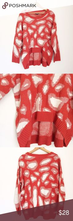 🔵SALE 🔵Abstract hi-low Sweater In excellent like new condition. High-low Knit Sweater with abstract circles. Rusty orange with cream colored design. Very comfy and flattering! Dry clean only, 100% Acrylic. ❌NO TRADES  ✅ I always respond to offers! (Don't give up! I am almost always willing to negotiate!)  🛍 Bundle to save! Cecico Sweaters Crew & Scoop Necks