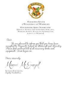 A Crafty Chick The Invitation Acceptance Letter  Harry Potter