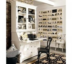 Office & Workspace White Classy Home Design Space Design With White Wooden Wall Unit And White Wooden Desk Black Wooden Chair And Floral Pattern Rug Best Photos of Good-Looking Home Office Space Design