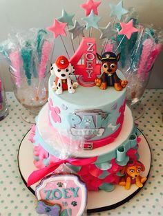 Paw patrol Girl party - like the stars Moana Theme Birthday, 4th Birthday Cakes, Girl Birthday Themes, 4th Birthday Parties, 2nd Birthday, Birthday Ideas, Paw Patrol Cake, Paw Patrol Party, Paw Patrol Birthday