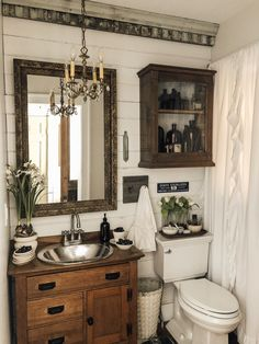 Cottage Style Master Bedroom Refresh with Milton and King Wallpaper - Deb and Danelle Bathroom Renos, Bathroom Interior, Small Bathroom, Antique Bathroom Decor, Small Rustic Bathrooms, Western Bathrooms, Washroom, Bathroom Inspiration, Interiores Design